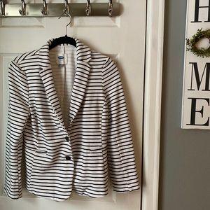 Old Navy Black & White Stripe Cotton & Poly Blazer